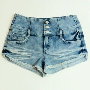 Almost Famous high waist denim shorty shorts Sz 7